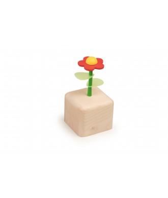 Boîte à musique fleur jaune-rouge