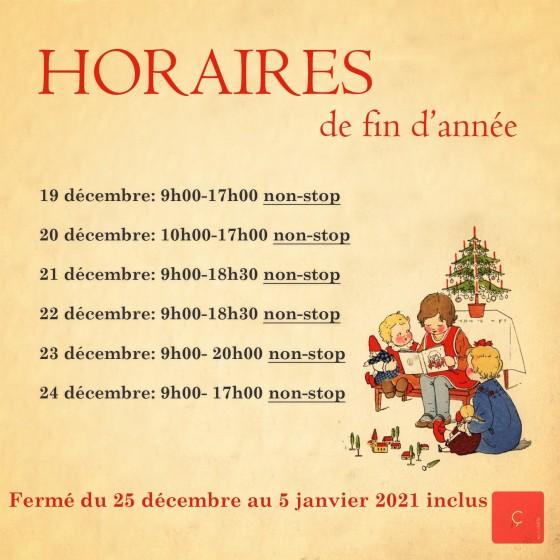 HORAIRES FIN D'ANNÉE