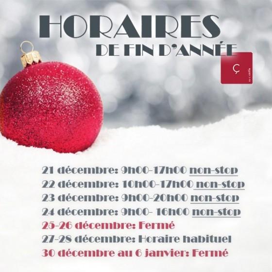 HORAIRES DE FIN D'ANNÉE